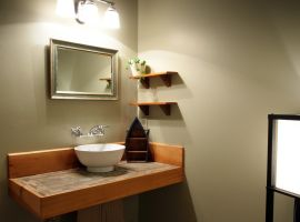 Bayview Suite Accommodation - Washroom with Rustic Lodge Decor